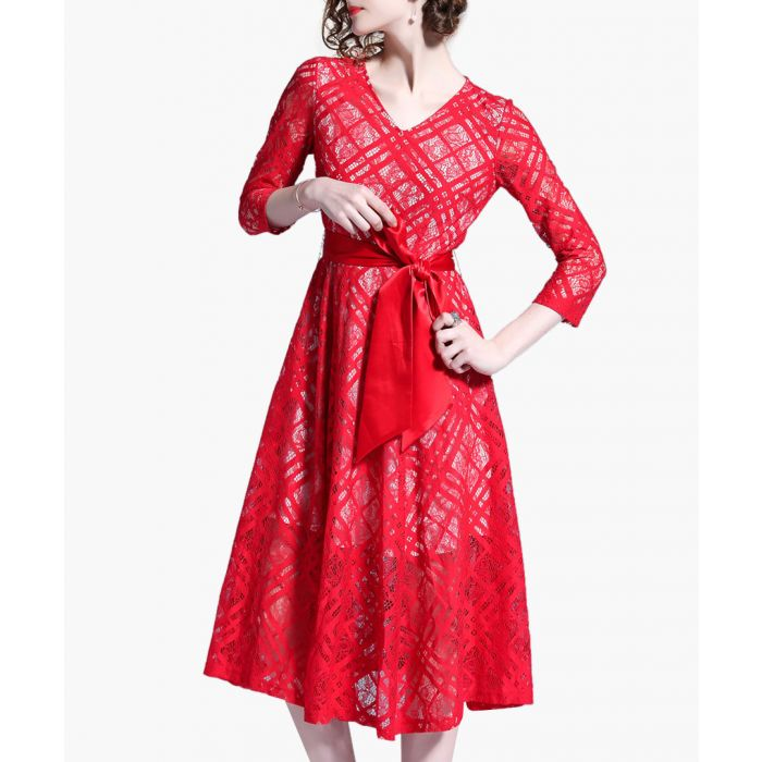 Image for Red print V-neck bow midi dress