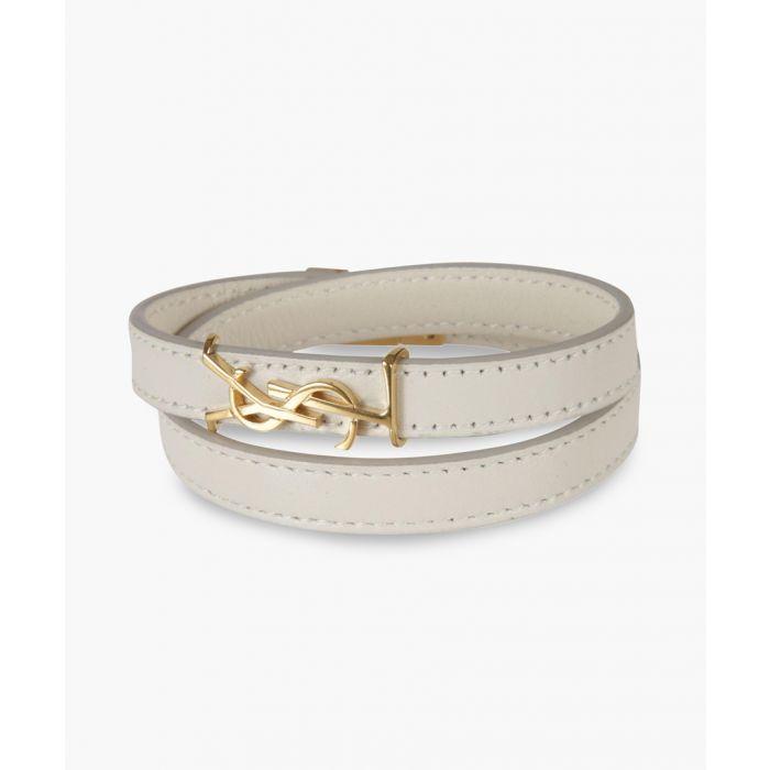 Image for Opyum cream leather double-wrap bracelet
