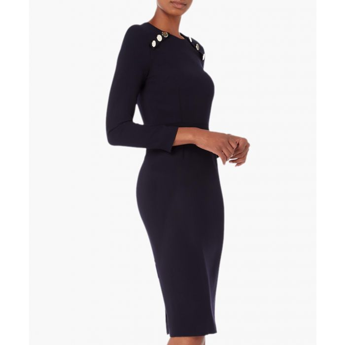 Image for Ivette navy blue wool-crepe fitted dress