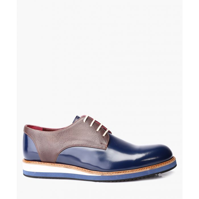 Image for Dark blue leather derby shoes