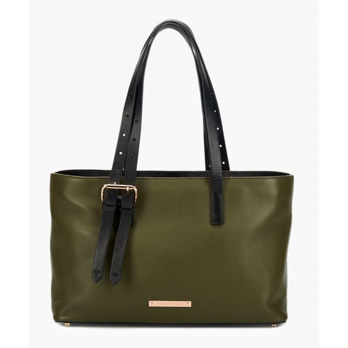 Image for East/West Dean khaki leather tote