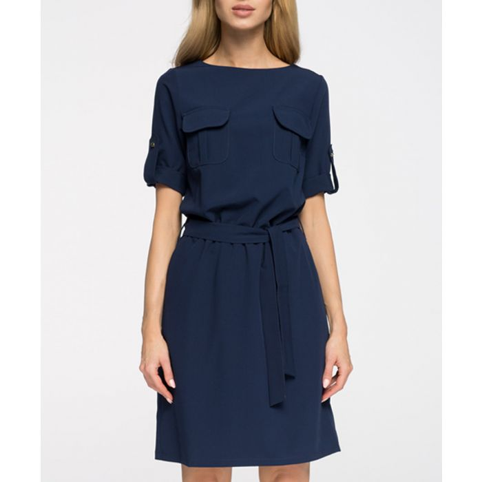Image for Navy waist-tie short sleeve dress