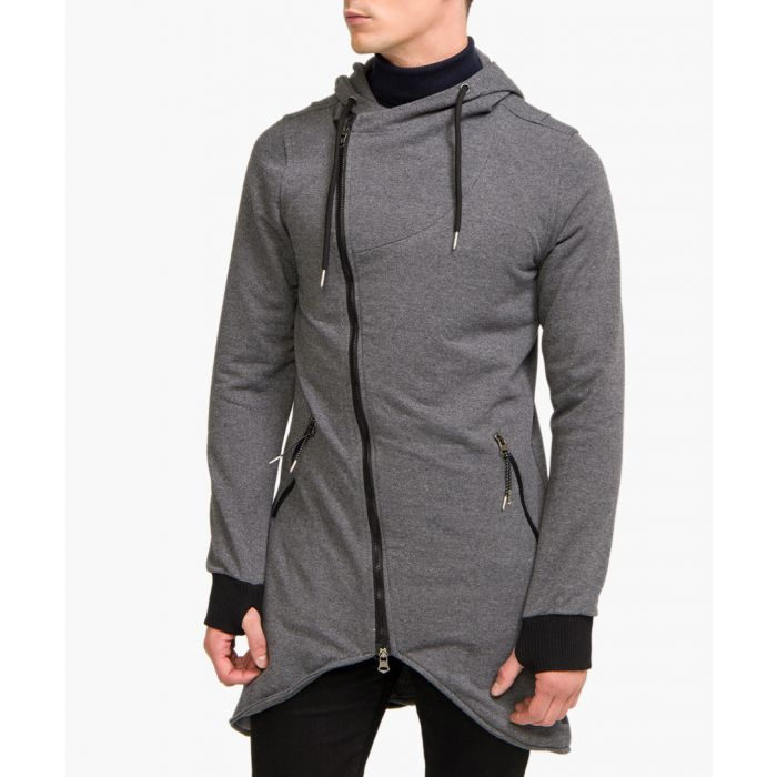 Image for Anthracite cotton blend hooded cardigan