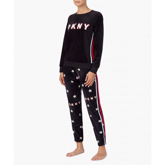 Image for Black star print logo joggers