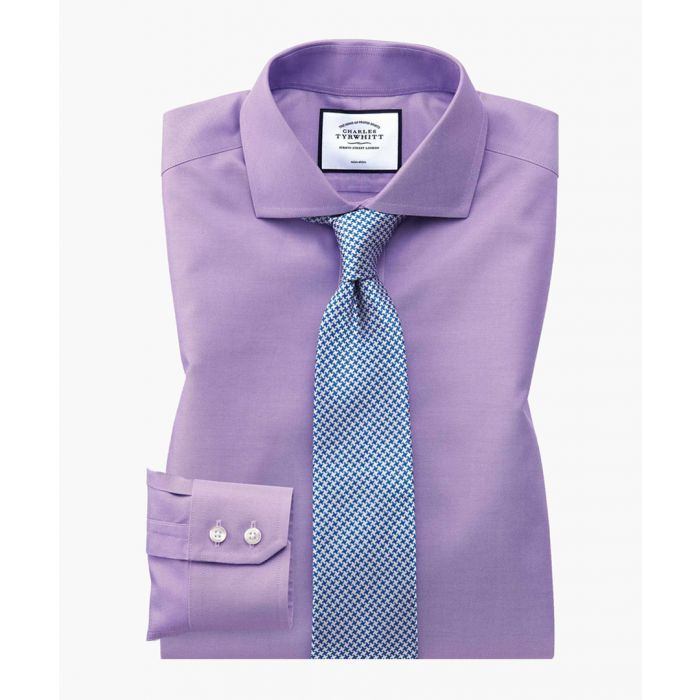 Image for Lilac twill slim fit non-iron cutaway collar shirt