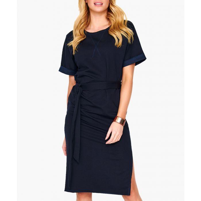 Image for Dark blue cotton blend dress
