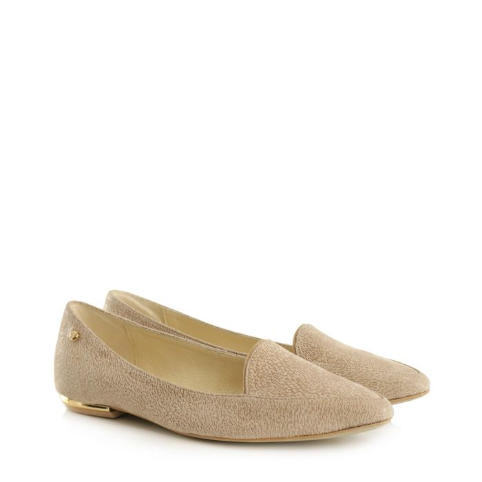 Image for Beige leather pointed loafers