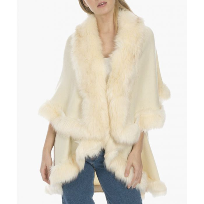 Image for Cream knitted luxury faux fur cape