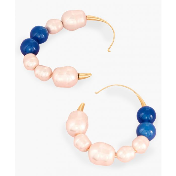 Image for Pink and navy blue beaded hoop earrings