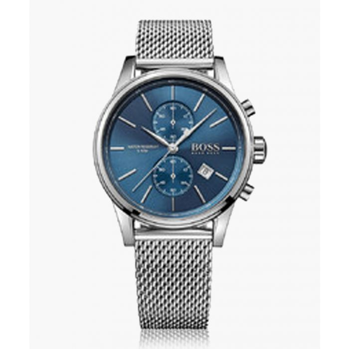 Image for Silver-tone and blue steel mesh watch