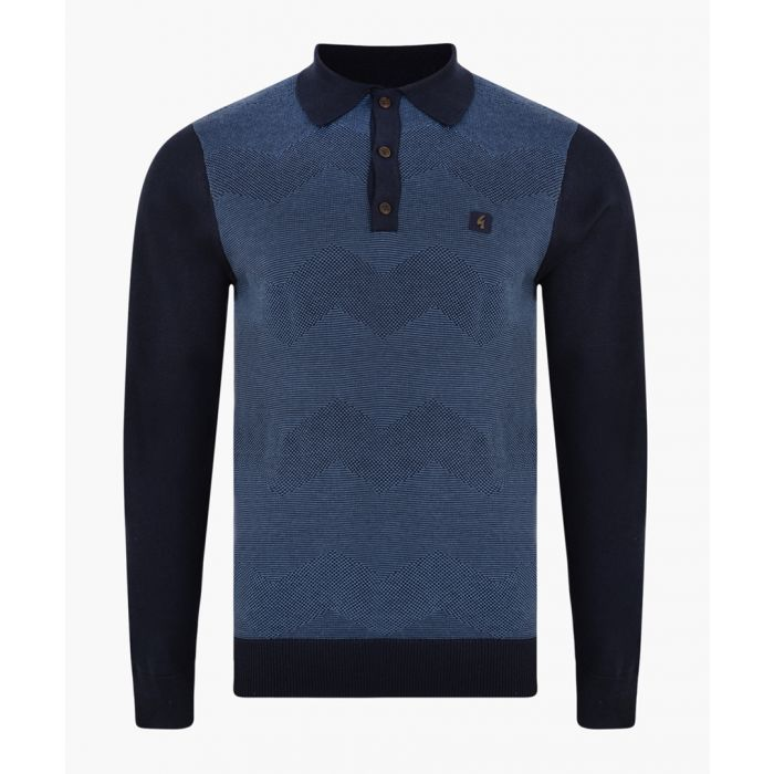 Image for Navy cotton blend polo shirt
