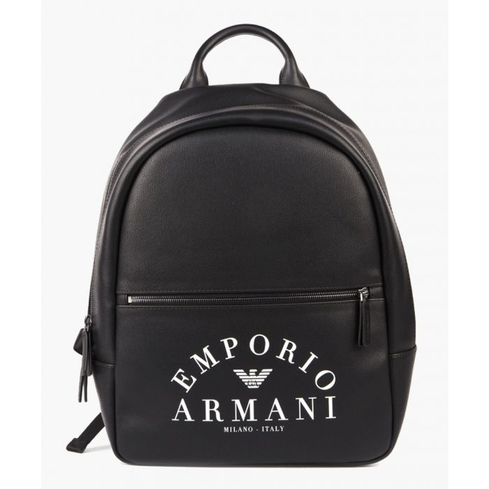 Image for Black faux leather logo backpack