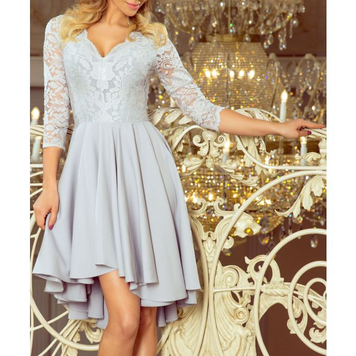 Image for Ash lace plunge pleated dress