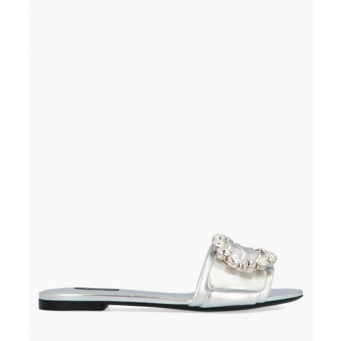 Image for Bianca silver-tone leather buckled slides