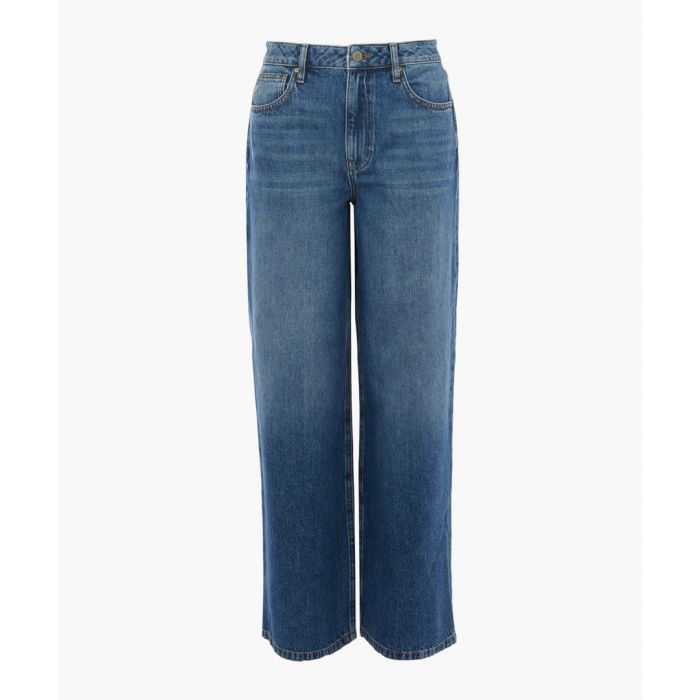 Image for Mid-wash high-rise wide jeans