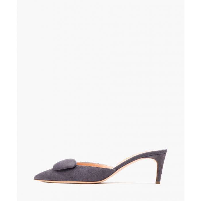 Image for Elsa Point grey steel suede mules