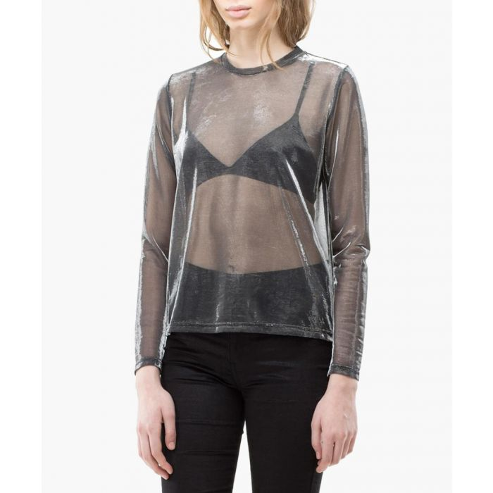 Image for Silver sheer long sleeve top