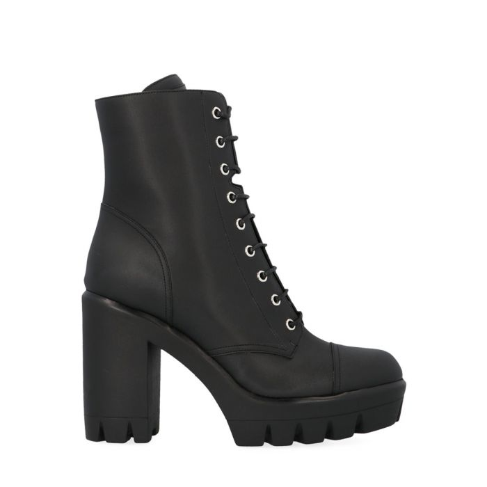 Image for Black leather heeled combat boots