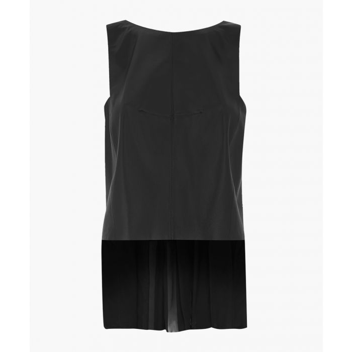 Image for Black pure silk sleeveless blouse