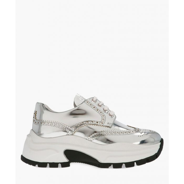 Image for Silver-tone metallic leather brogue-effect trainers