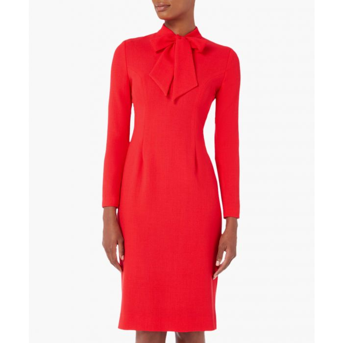 Image for Isabelle red bow neck pencil dress