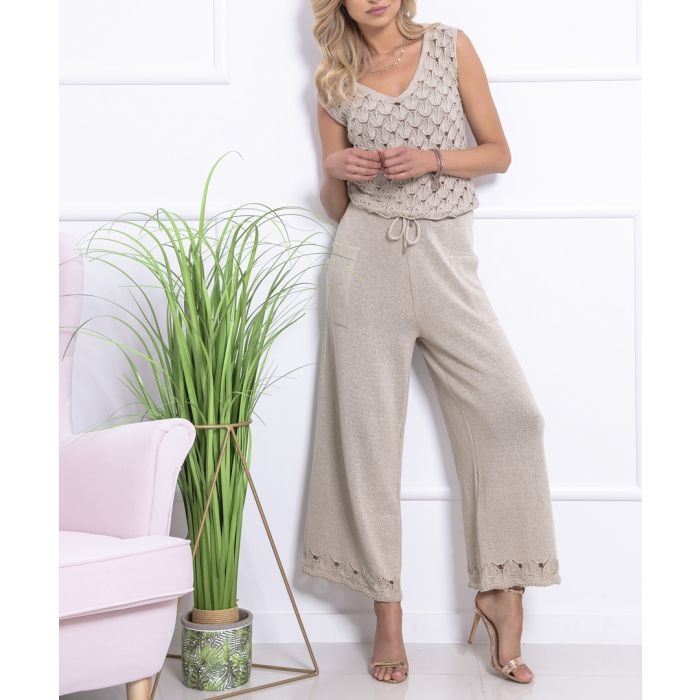 Image for Beige knitted cotton blend jumpsuit