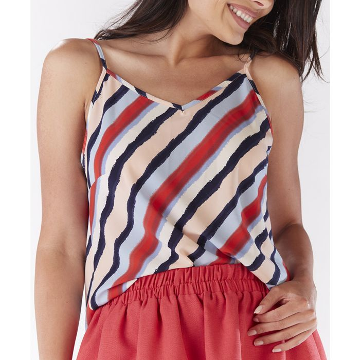 Image for Multi-colour stripe strappy crop top