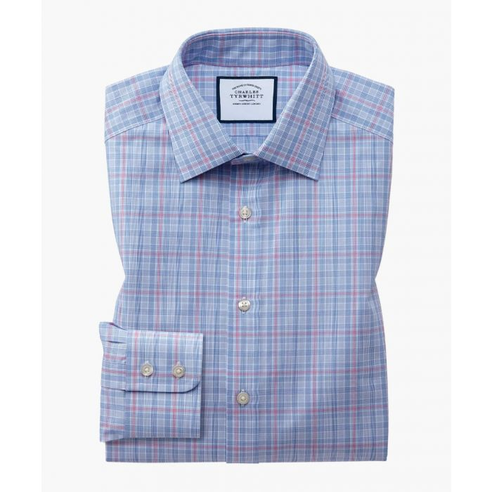 Image for Blue and pink pure cotton slim fit Prince Of Wales check shirt