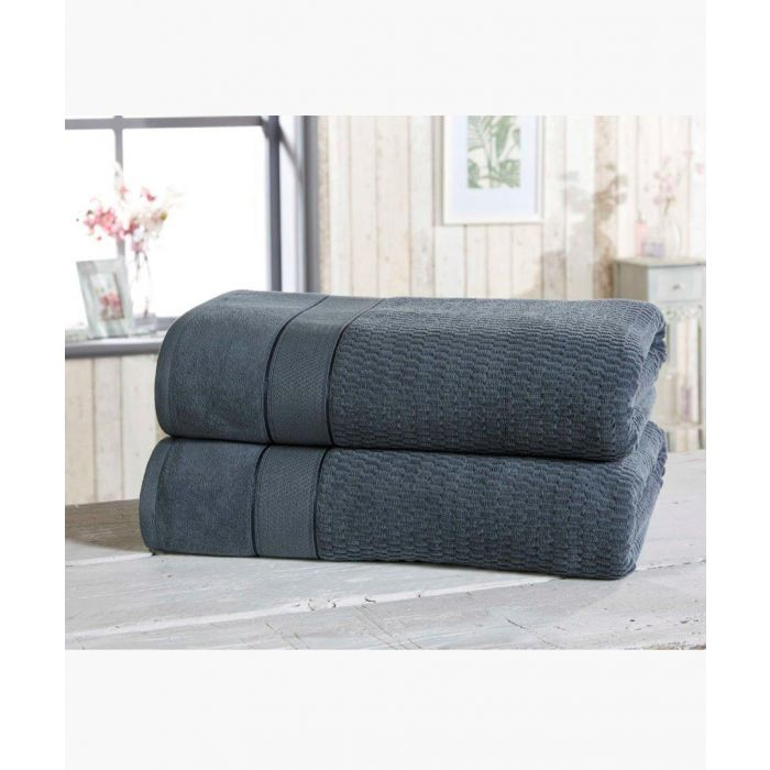 Image for 2pc navy cotton towels