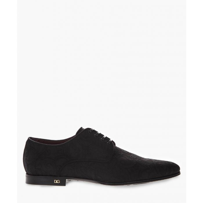 Image for Black brocade fabric derby shoes