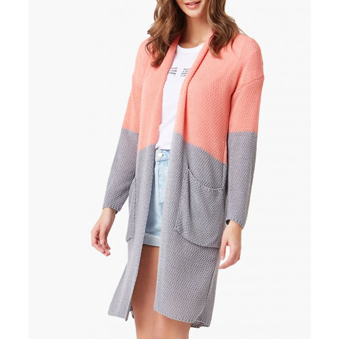 Image for Raspberry and grey loose cut cardigan