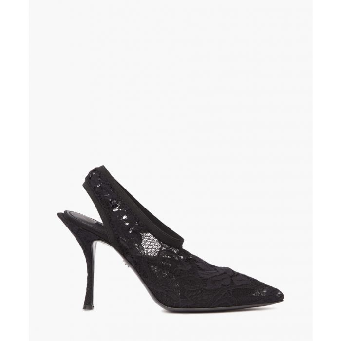 Image for Black lace slingback pumps