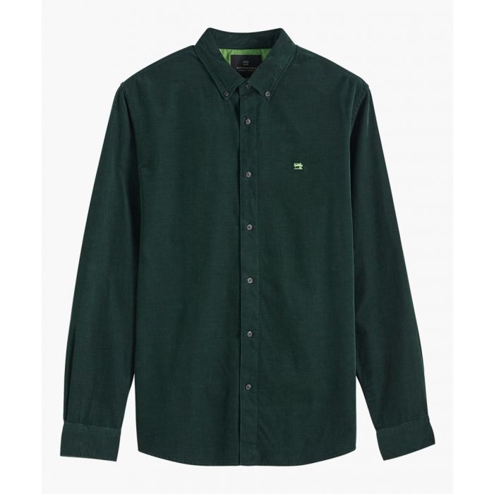 Image for Bottle green cotton curduroy shirt