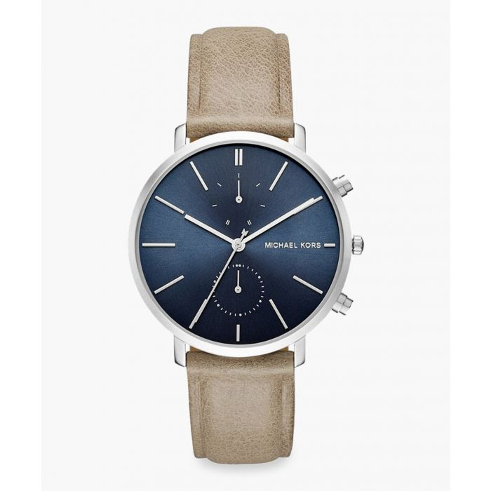 Image for Silver-plated stainless steel and taupe strap watch