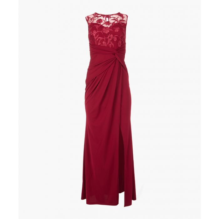 Image for Red embroidered bodice maxi dress