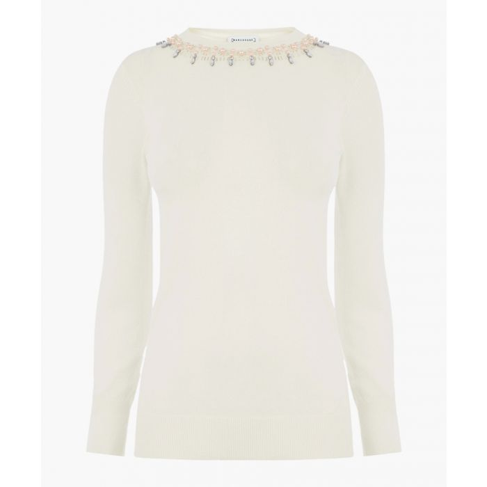 Image for Cream embellished pearl jumper