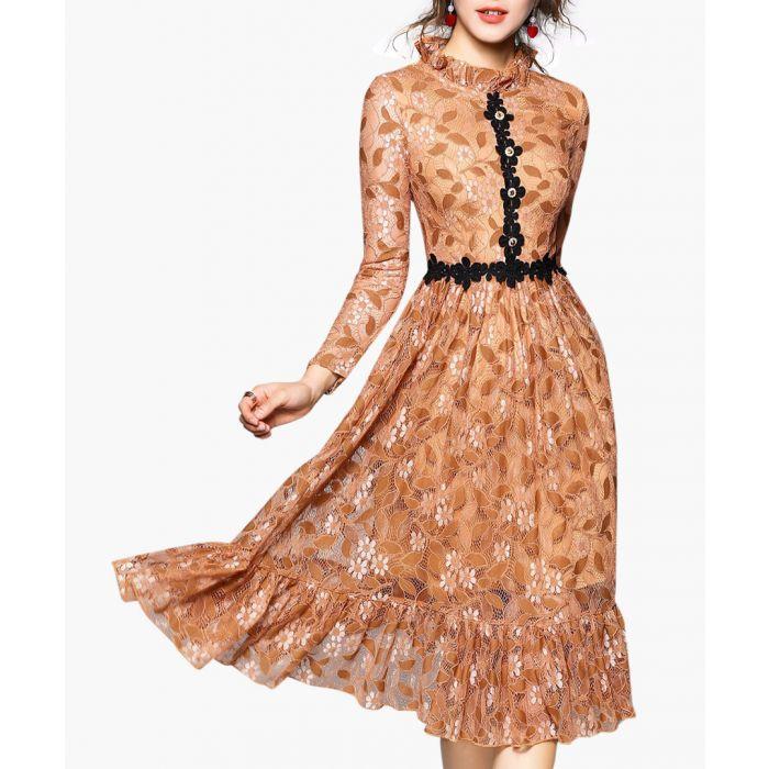 Image for Caramel & black applique midi dress