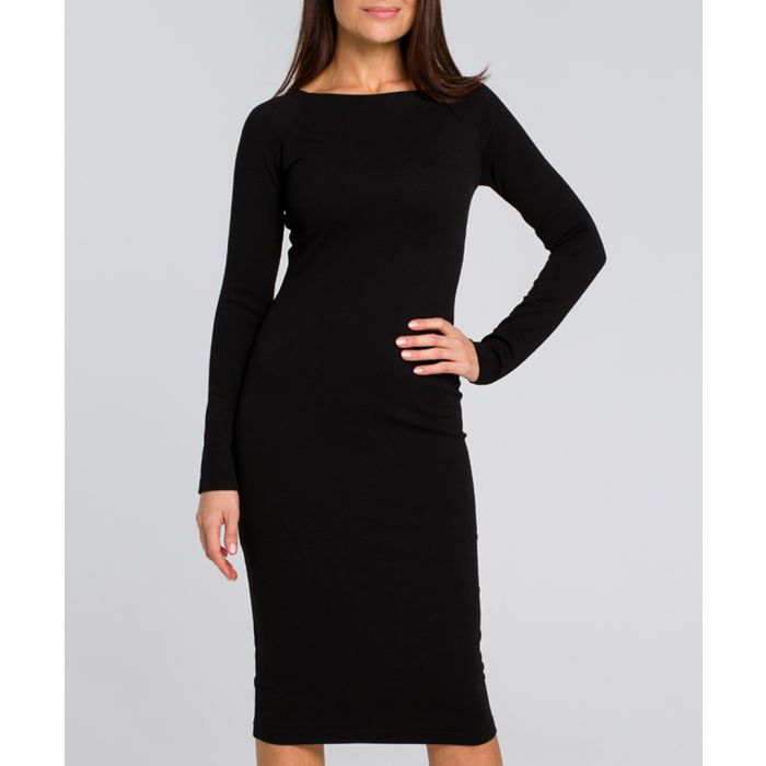 Image for Black midi bodycon dress