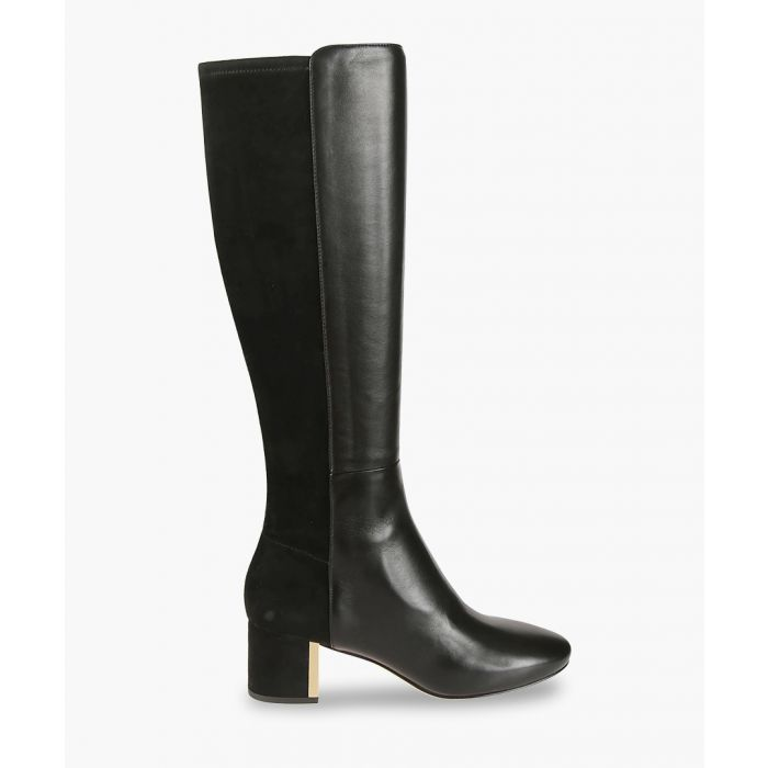 Image for Black suede contrast long boots