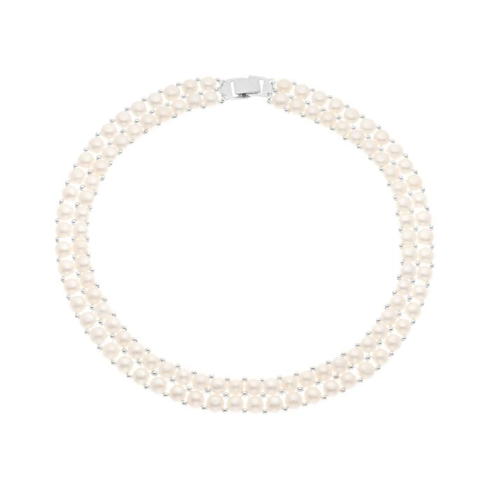 Image for 0.3cm white pearl 2-row necklace