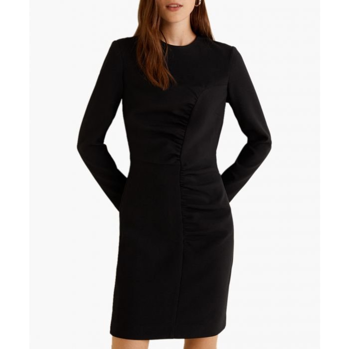 Image for Black gathered detail dress
