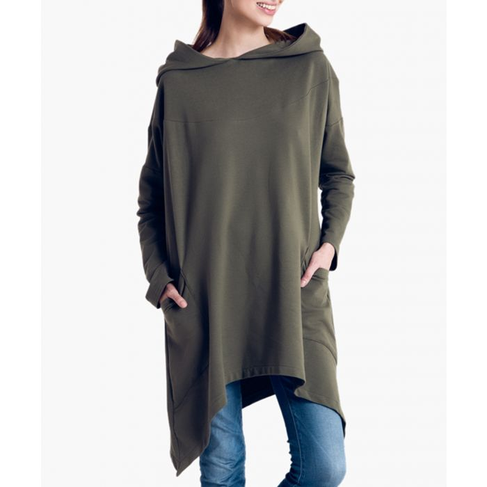 Image for Khaki cotton oversized hooded poncho