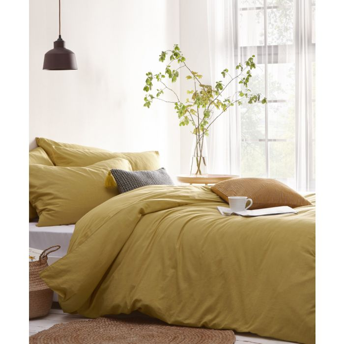 Image for Stonehouse ochre yellow king duvet cover set