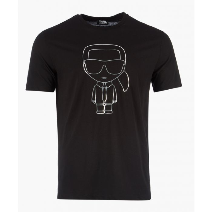 Image for Black linear logo motif T-shirt