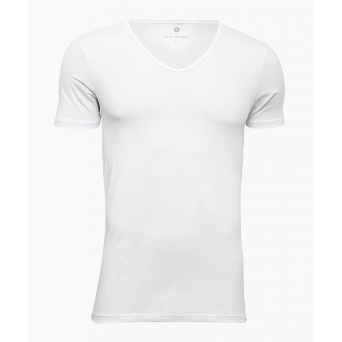 Image for Stretch-organic cotton blend V-neck T-shirt