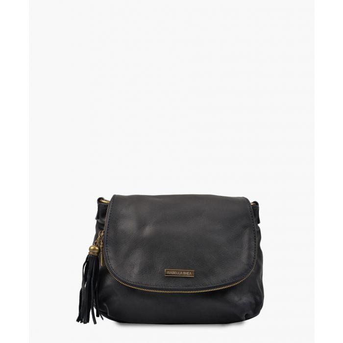 Image for Black leather tassel crossbody