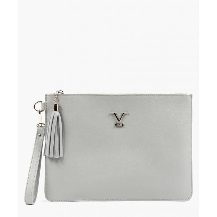 Image for Grey leather logo zip-top clutch bag