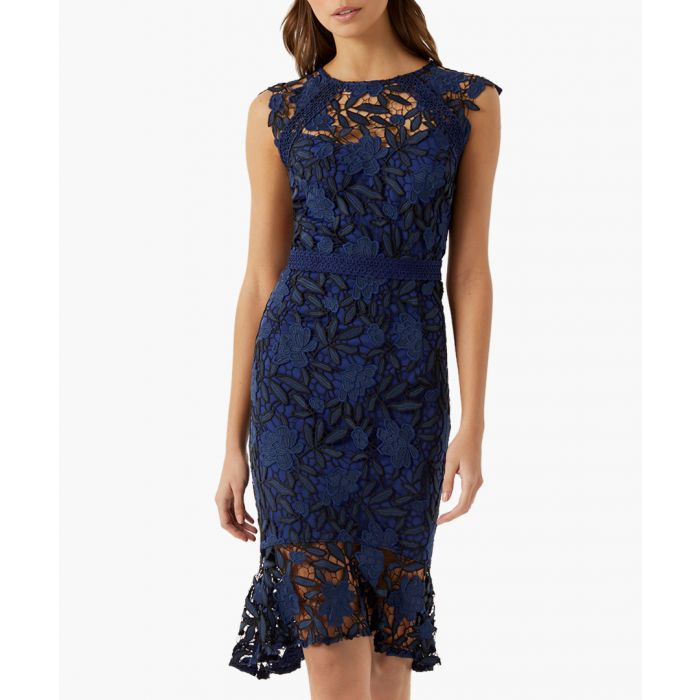 Image for Navy lace midi dress