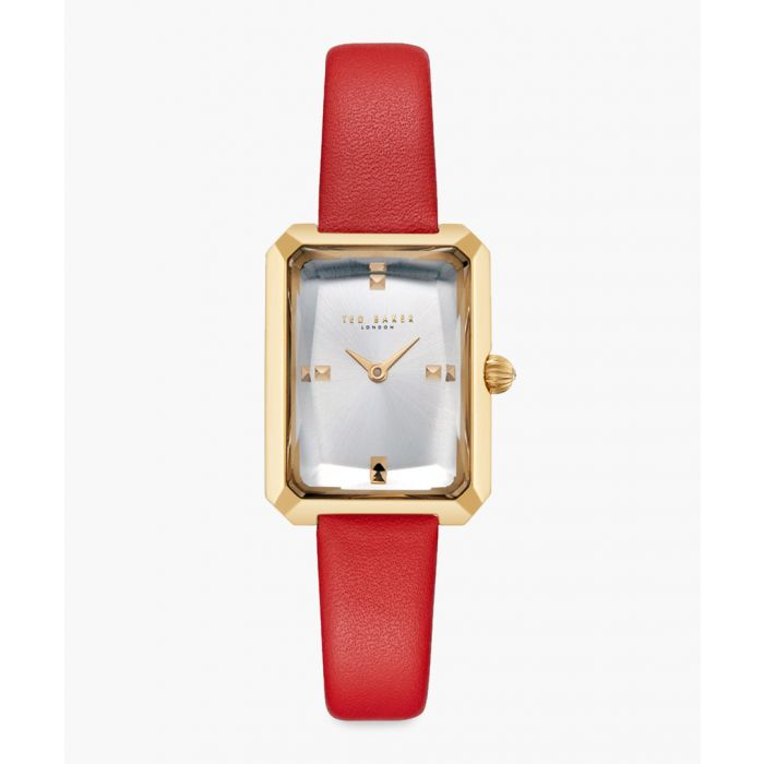 Image for Cara red leather and stainless steel watch