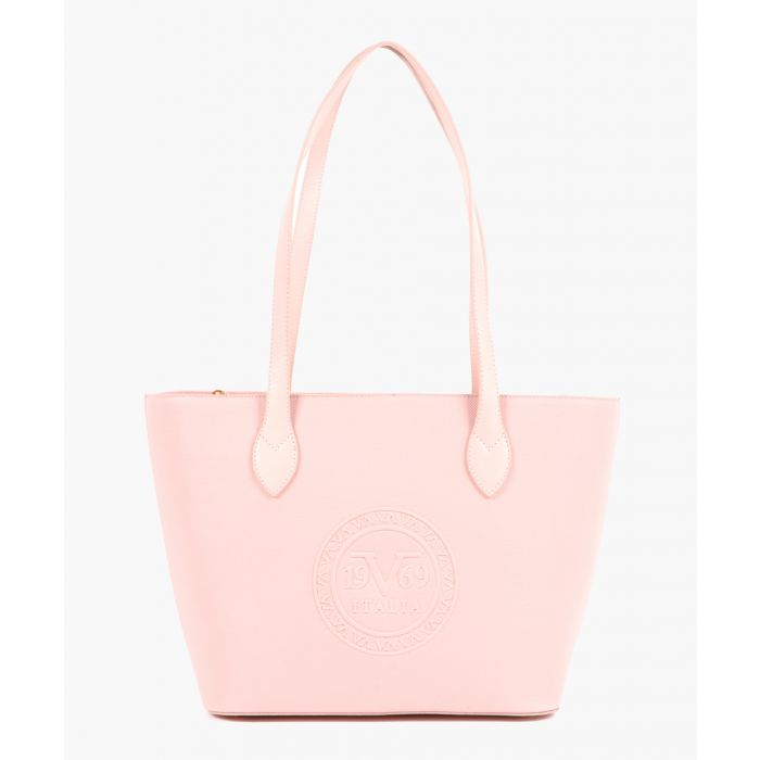 Image for Pink embossed faux leather shopper